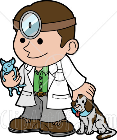 24748-Clipart-Illustration-Of-A-Friendly-Male-Veterinarian-Petting-A ... Veterinary Tools Clip Art